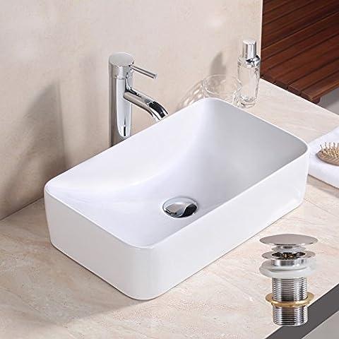 GaGa Rectangle Bowl Top Ceramic Basin Bowl Sink Vessel Porcelain Vanity Bathroom Kitchen with Pop Up