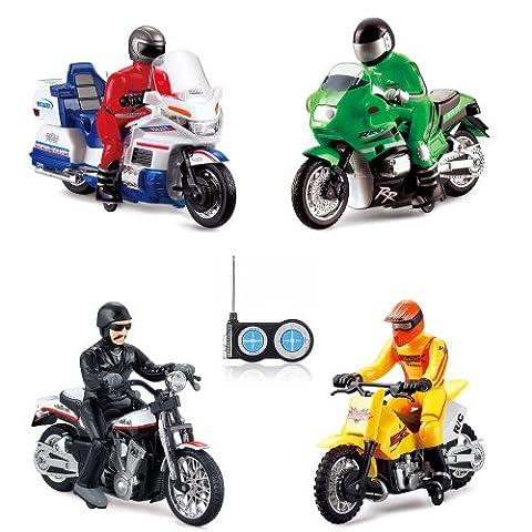 RC ferngesteuertes Motorrad 4 verschiedene Modelle Polizei, Motocross, Chopper,US Motorbike, Ready-To-Drive, Inkl. Fernsteuerung und integr. Akku,, (Super-racing Seat)