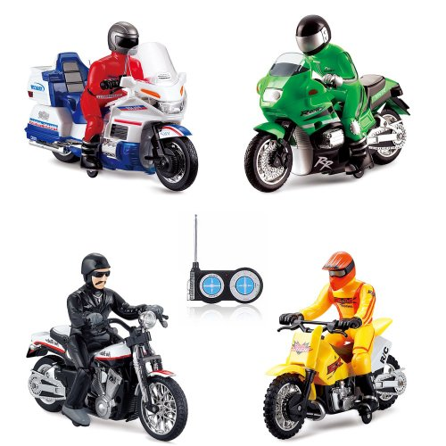 RC Radio Controlled Motorbike 4 Various Models Police, Motocross, Chopper, US, Ready to Drive, with Remote Control and Integrated Battery Frame
