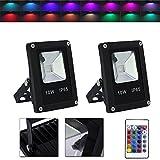 VINGO 2x 10W RGB LED Fluter Strahler Außen Scheinwerfer mit Fernbedienung 16 Farben 4 Modi Garten Deko Outdoor Licht Auffahrt Garage Beleuchtung Stimmungslichter IP65