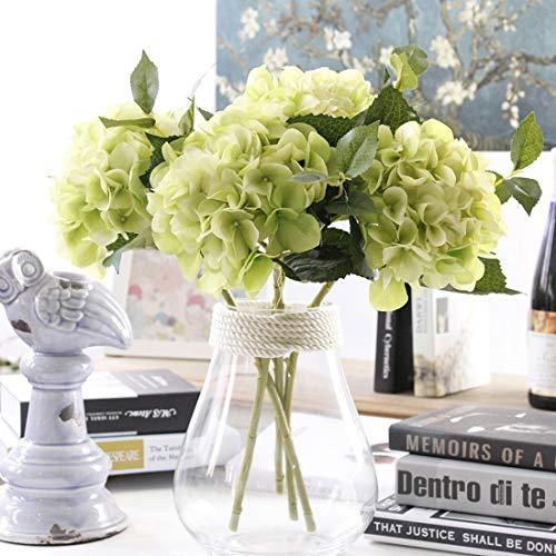 Famibay fiore finto 3 pezzi ortensia hydrangea bouquet da sposa per la decorazione di nozze(verde)