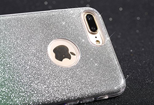 iPhone 7 Plus Custodia, iPhone 7 Plus Cover, JAWSEU Apple iPhone 7 Plus 4.7 Plus Protezione Bumper Brillantini Della Glitter Sparkle Bling Bling Custodia per Apple iPhone 7 Plus Cover Case Caso Gomma  Gradiente Verde