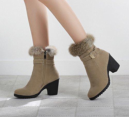 Mee Shoes Damen warm gefüttert chunky heels Plateau kurzschaft Stiefel Aprikose