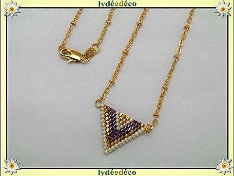 Collier plaqué or perles japonaises violet doré beige tissage triangle