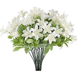 MIHOUNION 4 Pcs plastikblumen tigerlilien künstlich künstliche grünpflanze Blumen Kunststoff unechte Pflanze kunstblumen Busch Weiss für Topf Balkon außen Garten heiratsantrag deko
