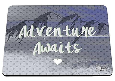 hippowarehouse Abenteuer erwartet Mountain Landschaft bedruckt Mauspad Zubehör Schwarz Gummi Boden 240mm x 190mm x 60mm, blau, (Outdoor Adventures Wallpaper)