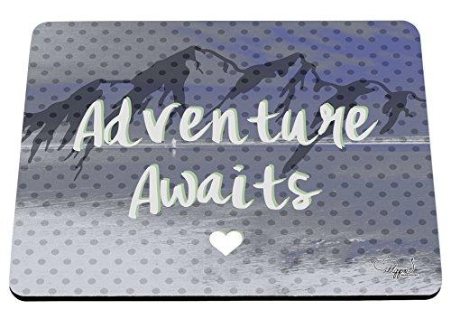hippowarehouse Abenteuer erwartet Mountain Landschaft bedruckt Mauspad Zubehör Schwarz Gummi Boden 240mm x 190mm x 60mm, blau, Einheitsgröße