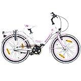 Galano 20 Zoll Kinderfahrrad Blossom Mädchenrad Jugendrad Cityrad, Farbe:Weiss/Pink