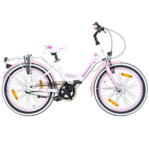fahrraeder maedchen Galano 20 Zoll Kinderfahrrad Blossom Mädchenrad Jugendrad Cityrad, Farbe:Weiss/pink