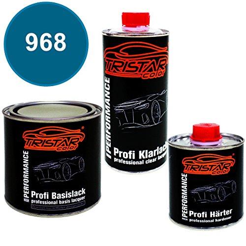 Preisvergleich Produktbild 1,25 Liter 2K Lack Set VW / VOLKSWAGEN / KARMANN 968 ALASKA / AZOREN BLUE M. / ALASKAN BLUE M. 1972 - 1974 - Profi Autolack spritzfertig & Klarlack & Härter