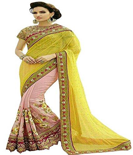 Reeva Trendz Present's New Desinger Yellow Color Net & Georgette Fancy Saree
