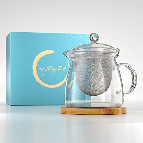 Red Square Pot (Die perfekte Teekanne für zwei.Glas Teebereiter mit abnehmbare Edelstahlsieb. Elegantes mundgeblasenes Glas Teekanne mit Bambus Graviert Tee Topf Untersetzer-kein Drip-800ml)