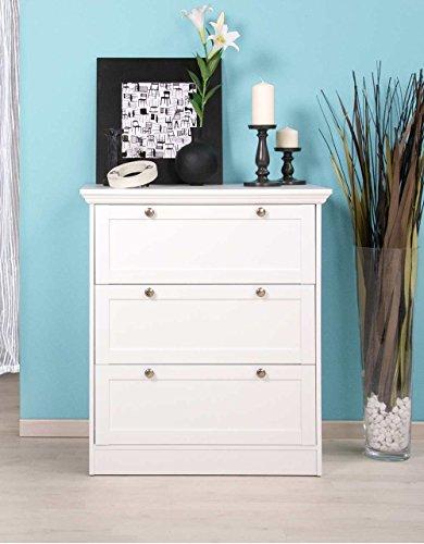 Kommode in weiß, mit 3 Schubkästen, hochwertige Rahmenfronten, Metallknöpfe im Vintage-Look, Maße: B/H/T ca. 80/90/45 cm