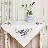 Kamaca ***Bezaubernde Stickpackung Blue Blossom - Stickdecke 80 cm x 80 cm - Spannstich vorgezeichnet - aus 100% Baumwolle - Mitteldecke 80 x 80 - Zum Selbersticken Shop***