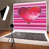 BuEnn 6x6ft Rosa Gestreifte Rote Liebe Valentinstag Fotografie Hintergrund Geburtstagsfeier für Mädchen Baby Shower Hochzeit Dessert Tischdeko Stand - 6