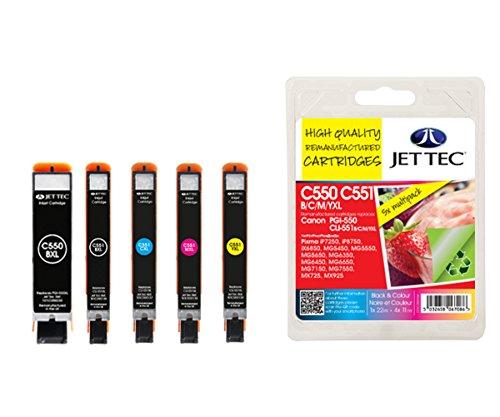 Preisvergleich Produktbild JET TEC 101C055164 PGI-550 XL CLI-551 B,C,M,Y Multipack in England hergestellte Tintenpatrone, schwarz/cyan/magenta/gelb