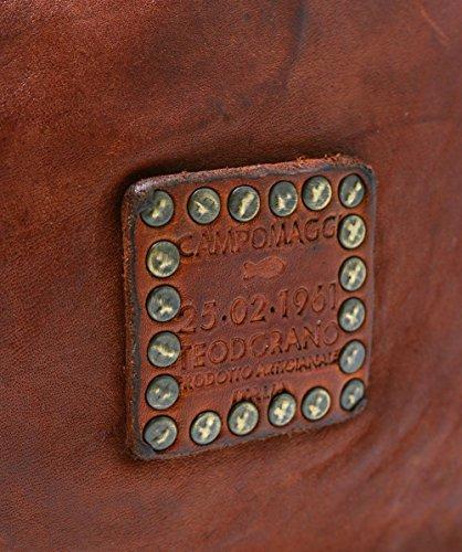 Campomaggi Damen verzierte Bowling-Tasche aus Leder Cognac Cognac