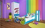 naka24 DM Kinderbett Happy Auto mit Matratze und Bettkasten/Verschiedene Variante (160x80 cm, Blau)