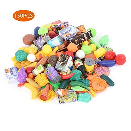 Dilwe Pretend Food Play Spielzeug Set, 150 Stücke Kunststoff Obst Gemüse Snack Spielzeug Pädagogisches Spielzeug Set Pretend Rollenspiel Küche Lebensmittel Playset für Kinder Geschenk