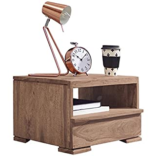 WOHNLING Nachttisch Massiv-Holz Akazie Nacht-Kommode 30 cm 1 Schublade Ablage Nachtschrank Landhaus-Stil Echt-Holz Nachtköstchen dunkel-braun Nacht-Konsole Natur-Produkt Schlafzimmer-Möbel Unikat