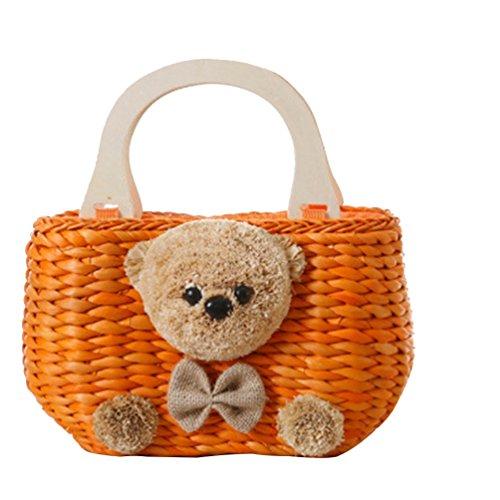 YOUJIA Damen Blumen Puppy Strandtaschen Tote Handtaschen Stroh Damentaschen #2 Orange
