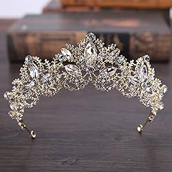 Tiara corona dorada diseño princesa medieval con rhinstone para peinados novia comuniones damas de honor madrinas flexible para diseños ideales en tu peinado novedad 2018 de OPEN BUY