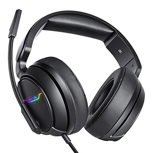 XIBERIA Xbox one Headset, PS4 Headset, Gaming Kopfhörer mit LED Licht, 3.5mm Surround Stereo Gaming Headsets, für PC, Laptop, Schau Video, Online Spiele, mit flexibler Mikrofon Lautstärkeregelung -