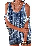 367dd0cf702f02 YOINS Bluse Damen Kurzarm Carmen Shirt Schulterfrei Oberteile Tops Sommer  Blumenmuster Rundhals Blau XXL/EU48. T- Shirt mit Batwing ...