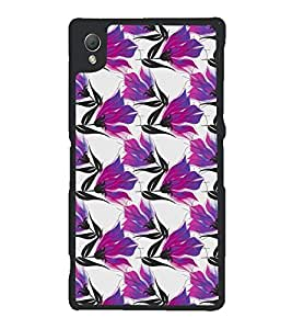 Fuson Premium Purple Flowers Metal Printed with Hard Plastic Back Case Cover for Sony Xperia Z3