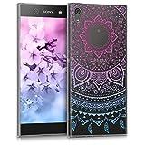 kwmobile Funda para Sony Xperia XA1 Ultra - Carcasa de [TPU] para móvil y diseño de Sol hindú en [Azul/Rosa Fucsia/Transparente]