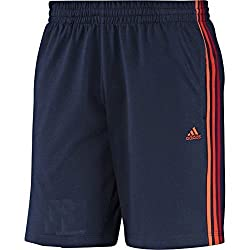 Mens Adidas Clima Essentials 3 Stripes Cotton Training Shorts Size Navy S