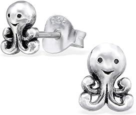 Laimons Mädchen Kinder-Ohrstecker Kinderschmuck Krake oxidiert Oktopus Sterling Silber 925