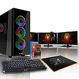 Fierce VIPER PC Gamer Paquet - Vite 6 x 4GHz Hex-Core AMD Ryzen 5 1600X, Ventilateur de processeur PC, 1To Seagate FireCuda Solid State Hybrid Drive, 16Go of 2133MHz DDR4 RAM / Mémoire, NVIDIA GeForce GTX 1070 8Go, Gigabyte AB350M-Gaming 3 Carte Mère, GameMax Cobalt RGB/RVB Boite D'ordinateur, HDMI, USB3, Wi - Fi, VR Prêt, 4K Prêt, Parfait pour les jeux haut de gamme, Windows 10 installé, Clavier (UK/QWERTY), Souris, moniteurs 3x 24 pouces, casque, 3 Ans De Garantie 401487