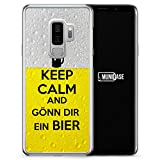 Keep Calm and Gönn Dir EIN Bier - Samsung Galaxy S9+ [Plus] Hülle - Motiv Design Spruch Cool Lustig Jungs Männer Herren Witzig - Transparente durchsichtige Handyhülle Hardcase Schutzhülle Cover Case