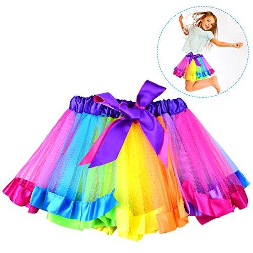 OZUAR Mädchen Regenbogen Tutu Rock Tanz Tüll Petticoat Layered Rüschen Kostüm mit Satin Bowknot Elastischer Bund Safe Fluffy für Kinder von 2 bis 5 Jahre alt M Größe 26cm Länge 22 * 2cm
