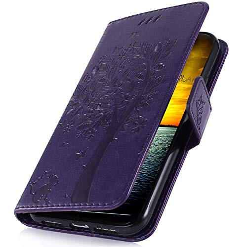Preisvergleich Produktbild MoreChioce kompatibel mit LG X Power 3 Hülle,X Power 3 Lederhülle 3D, Retro Lila Katze Muster Schutzhülle Klappbar Flip Case im Bookstyle kompatibel mit LG X Power 3 Handytasche Magnetverschluß