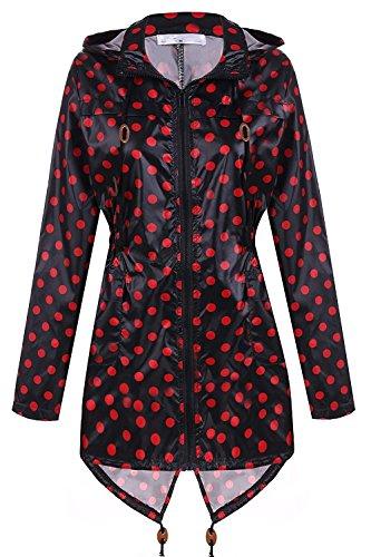 zhenwei Damen Regenjacke Outdoorjacke Funktionsjacke Schwarzer Und Roter Gepunktet Wasserabweisend Regenmantel Sommer Windjacke