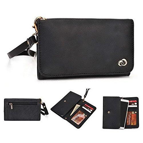 Kroo Pochette Housse Téléphone Portable en cuir véritable pour ZTE Star 1lame/L2 peau noir