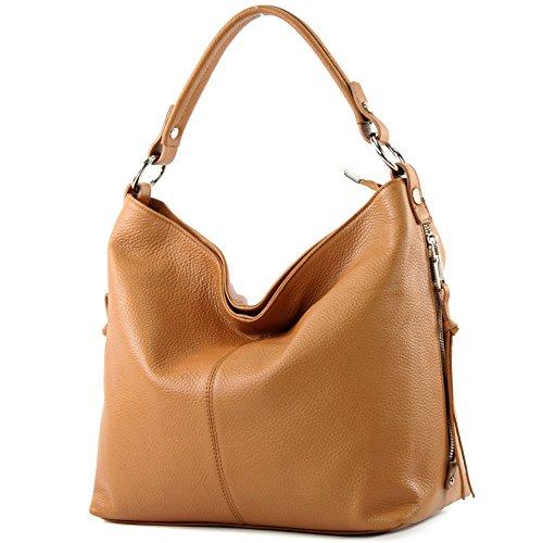 modamoda de - ital Shopper Bolsa de hombro grande de cuero T160, Color:camello