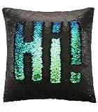 Ankit Pailletten Deko Kissen mit Füllung, ideal für Ihre Couch, in Meerjungfrauen-Optik, in der Farbe Grün/Blau Maße: 40x40 cm