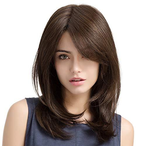 Ysy Birnen-Blumenschnalle Der Hollywood-Damenperücke Mehrfarbiges Langes Gelocktes Haar,Brown