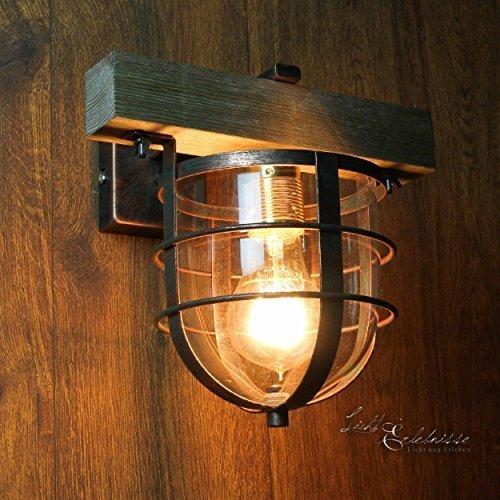 Stilvolle Wandleuchte in Kupfer Antik Holzfarben Vintagestil inkl. 1 x 12W E27 LED 230V Wandlampe aus Glas Metall & Holz für Esszimmer Schlafzimmer Flur Lampen Leuchte Beleuchtung (Kupfer Antike Wandleuchte)