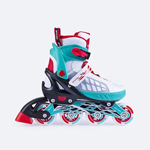 SPOKEY® ROADI Inline Skates | Größenverstellbar | Kinder | Damen | Herren | Inliner | Inline Blades | Aluminium Schiene | ABEC 5 Karbon | Größen 33-36 / 37-40 / 40-43
