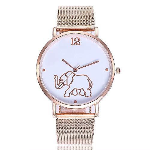 ZXMBIAO Armbanduhren Arbeiten Sie Frauen-Edelstahl-Elefant-Muster-Quarz-Beiläufige Uhren Der Frauen, Rosafarbenes Gold Um