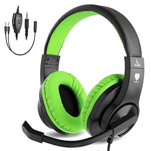 ShinePick Kopfhörer Kinder, 3.5mm Wired Gaming Headset mit Mikrofon, Leicht Bequem Overear Bass Surround für PS4/Xbox One/s/Nintendo Switch/PC/Computer/Handy(Grün) Wired Gaming Headset