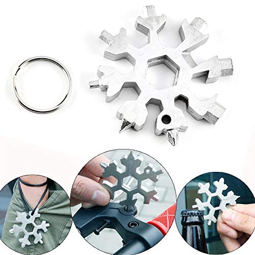 18-in-1 Multi-Tool in acciaio inox, UMIWE Mini Portable Snowflake Multi Tool, cacciavite Bottle Opener Keychain Anti-Lost Incredible Tool Regalo di Natale ...