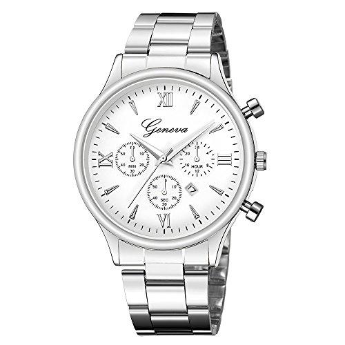 IG-Invictus Luxusuhr Mode Edelstahl Uhr Datum männer Quarz analog Armbanduhr genf net gürtel Uhr 648 stahlband Silber weißes Gesicht