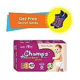 #9: Champs High Absorbent Premium Wonder Pant Style Diaper (Pack of 1)(Free 1-Pair Socks)  Premium Pant Diapers   Premium Diapers   diaper pants   diaper large size pants   diaper extra large size pants   diaper small size pants   diapers combo pack   (Small, 42)