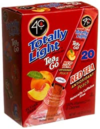 4C Totally Light Tea 2 Go Red Tea Peach, Sugar & Caffeine Free, 20-Count Boxes, (Pack of 3)