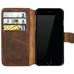 """Solo Pelle Iphone 6 / 6S (4.7 Zoll) """"Wallet"""" Ledertasche mit Aufstellfunktion & Kartenfächern Vintage Braun"""